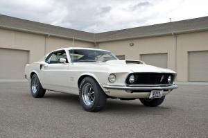 Beyaz Ford Mustang 1967 Model 2 Klasik Otomobil Araçlar Kanvas Tablo