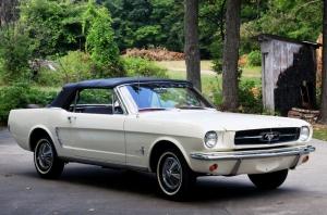Beyaz Ford Mustang 1967 Model 4 Klasik Otomobil Araçlar Kanvas Tablo