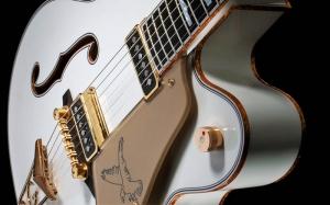 Beyaz Gitar Müzik Kanvas Tablo