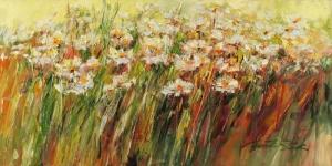 Beyaz Papatyalar 1 Yağlı Boya Floral Sanat Kanvas Tablo