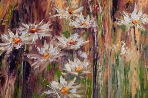 Beyaz Papatyalar 2 Yağlı Boya Floral Sanat Kanvas Tablo