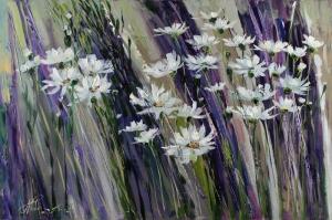 Beyaz Papatyalar 3 Yağlı Boya Floral Sanat Kanvas Tablo