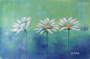 Beyaz Papatyalar 4 Yağlı Boya Floral Sanat Kanvas Tablo