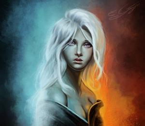Beyaz Saçlı Kız İllustrasyon Popüler Kültür Kanvas Tablo