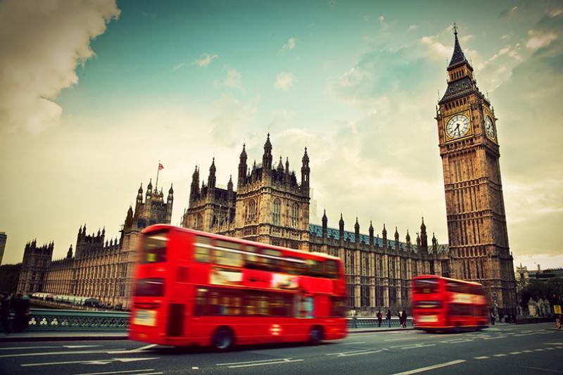 Big Ben Londra Kırmızı Otobüs Dünyaca Ünlü Şehirler Kanvas Tablo