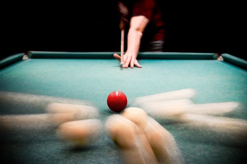 Bilardo Topları ve Bilardo Masası  4 Fotoğraf Kanvas Tablo