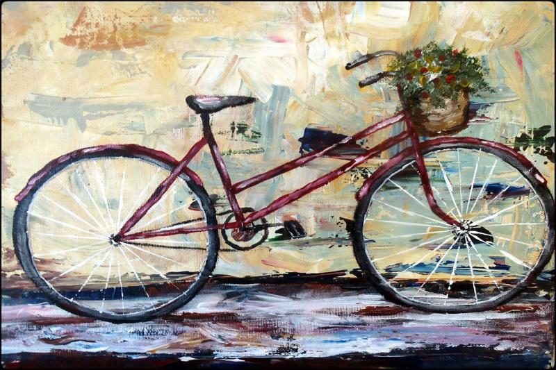 Bisiklet 1 Yağlı Boya Sanat Kanvas Tablo