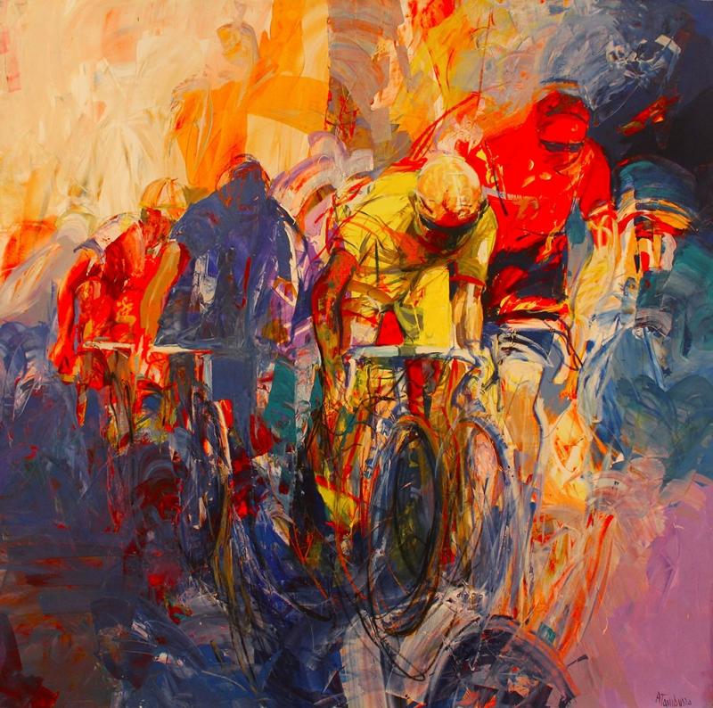 Bisikletçiler, Bisiklet Yarışı İç Mekan Dekoratif Kanvas Tablo
