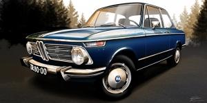 Bmw Retro İllustrasyon Otomobil Araçlar Kanvas Tablo