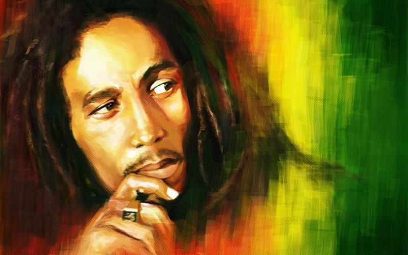 Bob Marley Singing Popüler Kültür Kanvas Tablo