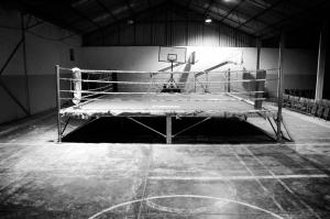 Boks Ringi Siyah Beyaz Spor Kanvas Tablo