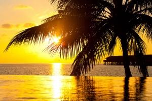 Bora Bora Tahiti Gün Batımı Doğa Manzaraları Kanvas Tablo