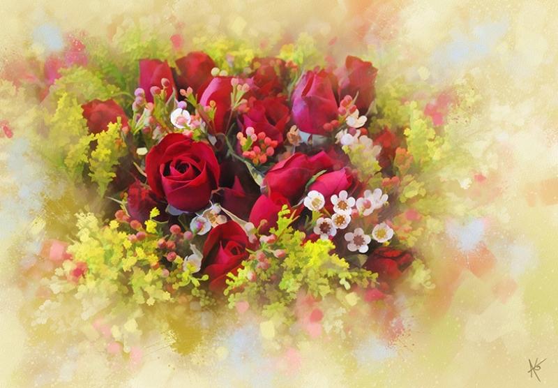 Bouquet Of Roses Yağlı Boya Sanat Kanvas Tablo
