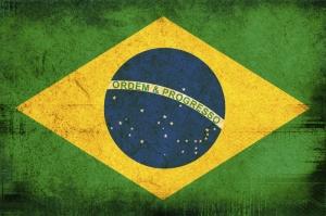 Brezilya Bayrağı, Eskitilmiş Retro Brezilya Bayrağı Kanvas Tablo