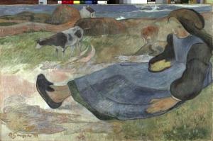Britanyalı Kız, Breton Girl Paul Gauguin Reproduksiyon Kanvas Tablo