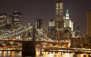 Brooklyn Köprüsü Gece New York 2 Dünyaca Ünlü Şehirler Kanvas Tablo
