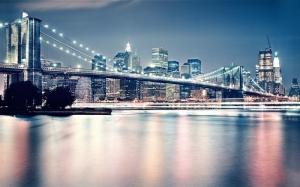 Brooklyn Köprüsü Gece New York Dünyaca Ünlü Şehirler Kanvas Tablo