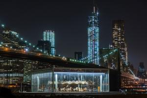 Brooklyn Köprüsü Parkı Gece New York Dünyaca Ünlü Şehirler Kanvas Tablo