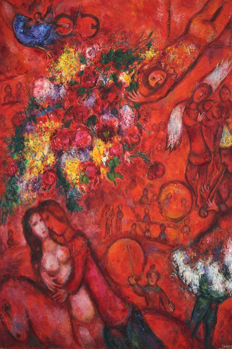 Buketler Ve Kırmızı Sirk Marc Chagall Bouquet And Red Circus Klasik Sanat Kanvas Tablo