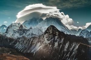 Bulutlar Dağ Manzarası Kanvas Tablo