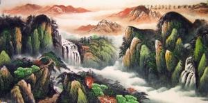 Çağlayan Nehir Sarp Dağlar Doğa Manzarası Kanvas Tablo