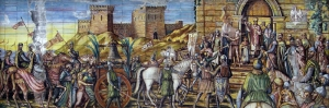 Caltagirone Italya Sehir Girisi Mozaik Sanat Kanvas Tablo