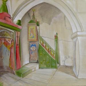 Cami İçi, Minber, Dini İç Mekan Dekoratif Kanvas Tablo