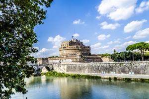 Castel Sant Angelo, Tiber Nehri, Roma, İtalya Manzara-1 Dünyaca Ünlü Şehirler Kanvas Tablo