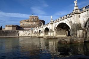 Castel Sant Angelo, Tiber Nehri, Roma, İtalya Manzara-10 Dünyaca Ünlü Şehirler Kanvas Tablo