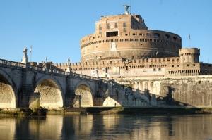 Castel Sant Angelo, Tiber Nehri, Roma, İtalya Manzara-11 Dünyaca Ünlü Şehirler Kanvas Tablo