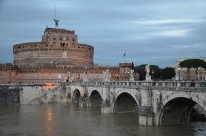 Castel Sant Angelo, Tiber Nehri, Roma, İtalya Manzara-13 Dünyaca Ünlü Şehirler Kanvas Tablo