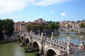 Castel Sant Angelo, Tiber Nehri, Roma, İtalya Manzara-14 Dünyaca Ünlü Şehirler Kanvas Tablo