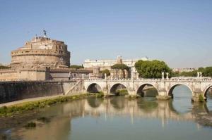 Castel Sant Angelo, Tiber Nehri, Roma, İtalya Manzara-15 Dünyaca Ünlü Şehirler Kanvas Tablo