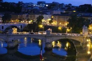 Castel Sant Angelo, Tiber Nehri, Roma, İtalya Manzara-16 Dünyaca Ünlü Şehirler Kanvas Tablo