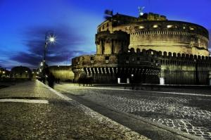 Castel Sant Angelo, Tiber Nehri, Roma, İtalya Manzara-17 Dünyaca Ünlü Şehirler Kanvas Tablo