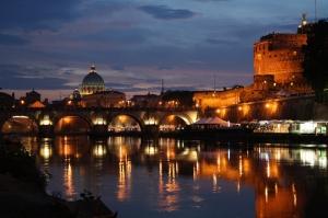 Castel Sant Angelo, Tiber Nehri, Roma, İtalya Manzara-19 Dünyaca Ünlü Şehirler Kanvas Tablo
