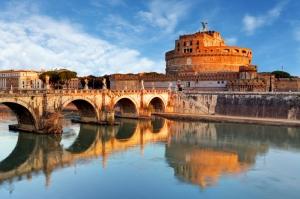 Castel Sant Angelo, Tiber Nehri, Roma, İtalya Manzara-2 Dünyaca Ünlü Şehirler Kanvas Tablo