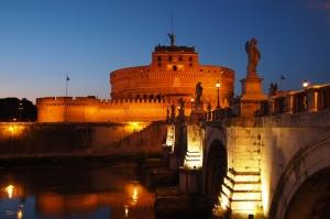 Castel Sant Angelo, Tiber Nehri, Roma, İtalya Manzara-20 Dünyaca Ünlü Şehirler Kanvas Tablo