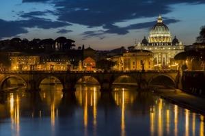 Castel Sant Angelo, Tiber Nehri, Roma, İtalya Manzara-21 Dünyaca Ünlü Şehirler Kanvas Tablo