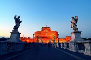 Castel Sant Angelo, Tiber Nehri, Roma, İtalya Manzara-22 Dünyaca Ünlü Şehirler Kanvas Tablo
