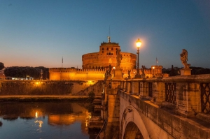 Castel Sant Angelo, Tiber Nehri, Roma, İtalya Manzara-23 Dünyaca Ünlü Şehirler Kanvas Tablo
