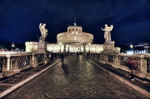 Castel Sant Angelo, Tiber Nehri, Roma, İtalya Manzara-24 Dünyaca Ünlü Şehirler Kanvas Tablo