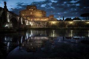 Castel Sant Angelo, Tiber Nehri, Roma, İtalya Manzara-25 Dünyaca Ünlü Şehirler Kanvas Tablo