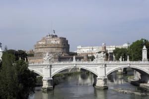 Castel Sant Angelo, Tiber Nehri, Roma, İtalya Manzara-26 Dünyaca Ünlü Şehirler Kanvas Tablo