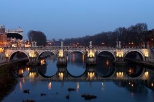 Castel Sant Angelo, Tiber Nehri, Roma, İtalya Manzara-28 Dünyaca Ünlü Şehirler Kanvas Tablo
