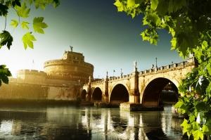 Castel Sant Angelo, Tiber Nehri, Roma, İtalya Manzara-29 Dünyaca Ünlü Şehirler Kanvas Tablo