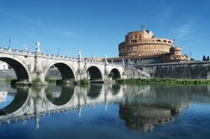 Castel Sant Angelo, Tiber Nehri, Roma, İtalya Manzara-3 Dünyaca Ünlü Şehirler Kanvas Tablo