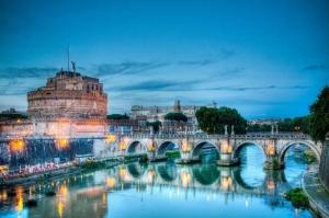 Castel Sant Angelo, Tiber Nehri, Roma, İtalya Manzara-7 Dünyaca Ünlü Şehirler Kanvas Tablo