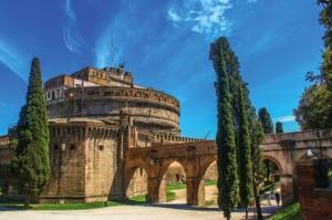 Castel Sant Angelo, Tiber Nehri, Roma, İtalya Manzara-8 Dünyaca Ünlü Şehirler Kanvas Tablo