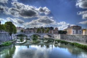 Castel Sant Angelo, Tiber Nehri, Roma, İtalya Manzara-9 Dünyaca Ünlü Şehirler Kanvas Tablo